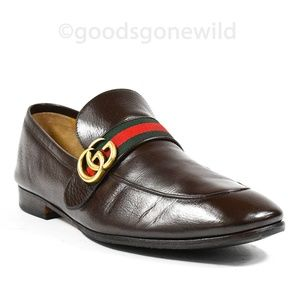 4f811cc98c4 Gucci Men s Donnie Web Leather Loafers